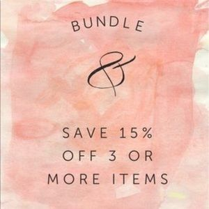 Bundle any three items or more = 15% Off